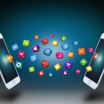 Smartphones communicating through their apps - Modern personal communication concept
