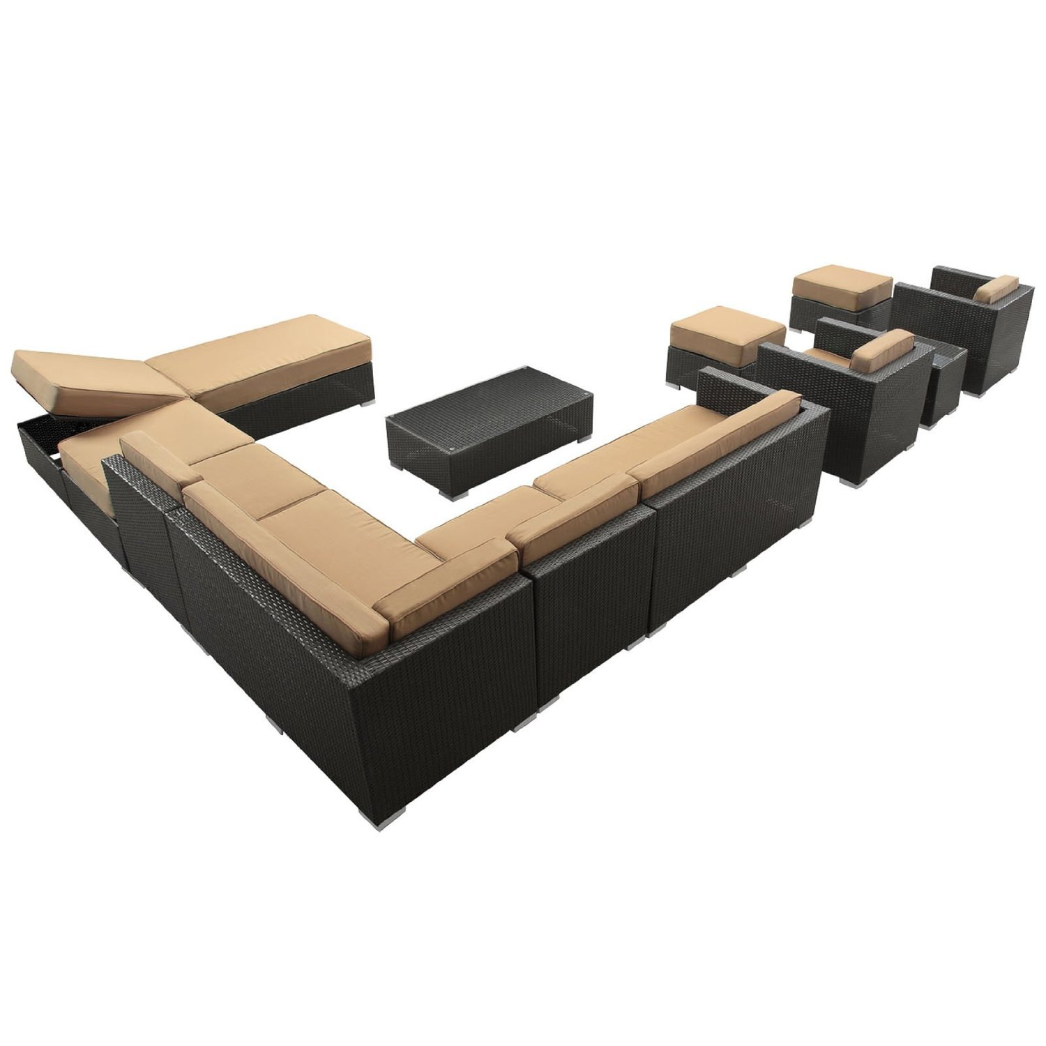 lexmod monterey outdoor wicker rattan sectional sofa set house of fraser leather fusion 12 piece patio furniture