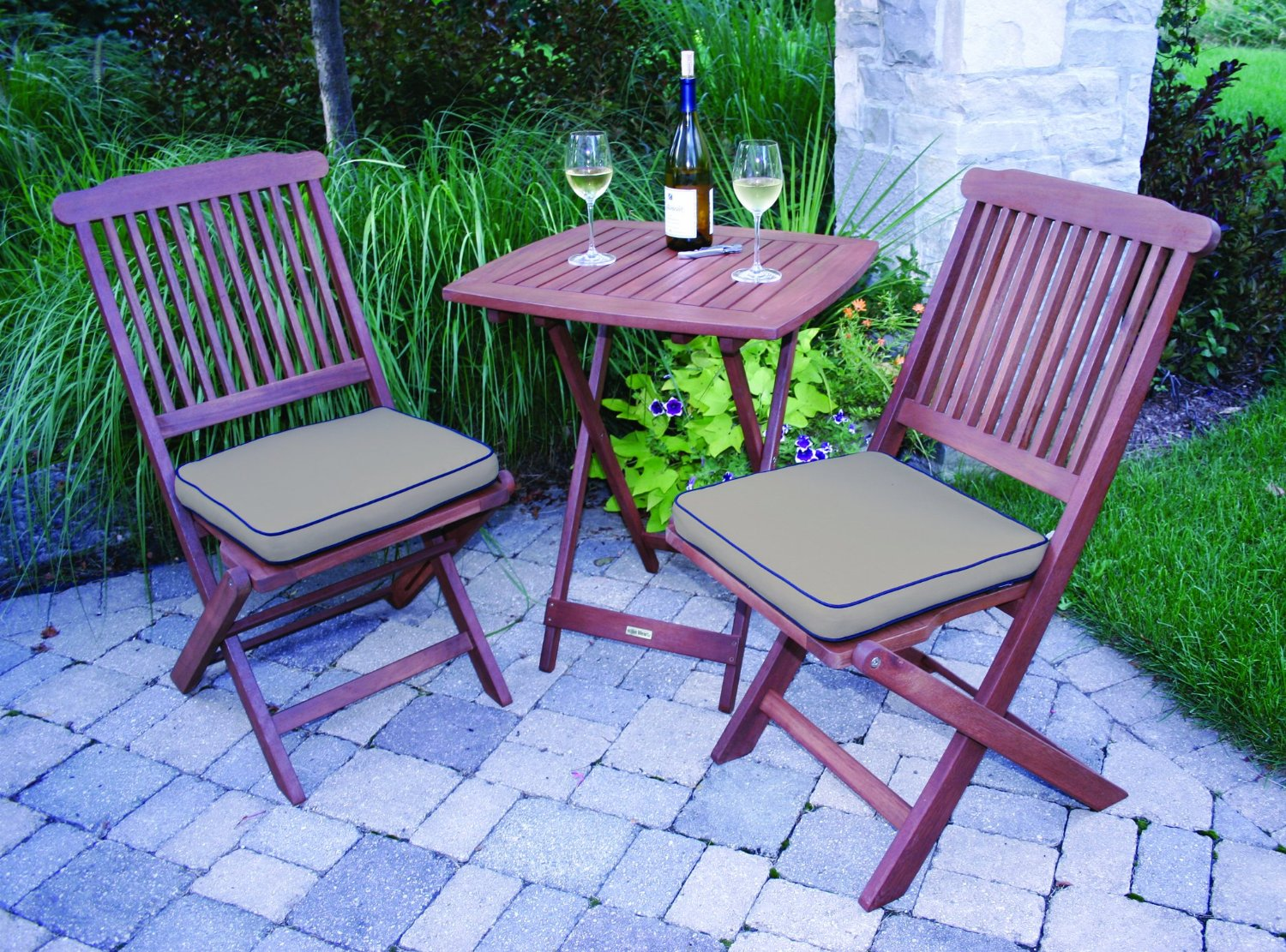 outdoor chair set rent cheap covers eucalyptus 3 piece square bistro furniture