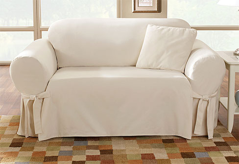 sure fit cotton duck sofa slipcover bed settee one piece slipcovers