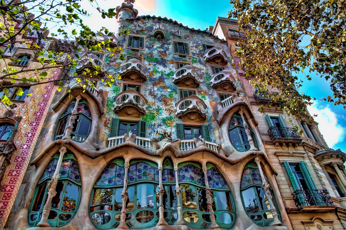 You must see Casa Batllo Front Outside Colored if you happen to visit Casa Batllo in Barcelona