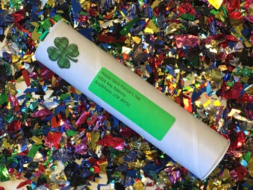 Saint Patrick's Day Spring-Loaded Confetti Bomb Closed