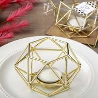 Gold Hexagon Metal Candle Holder  FREE Rush