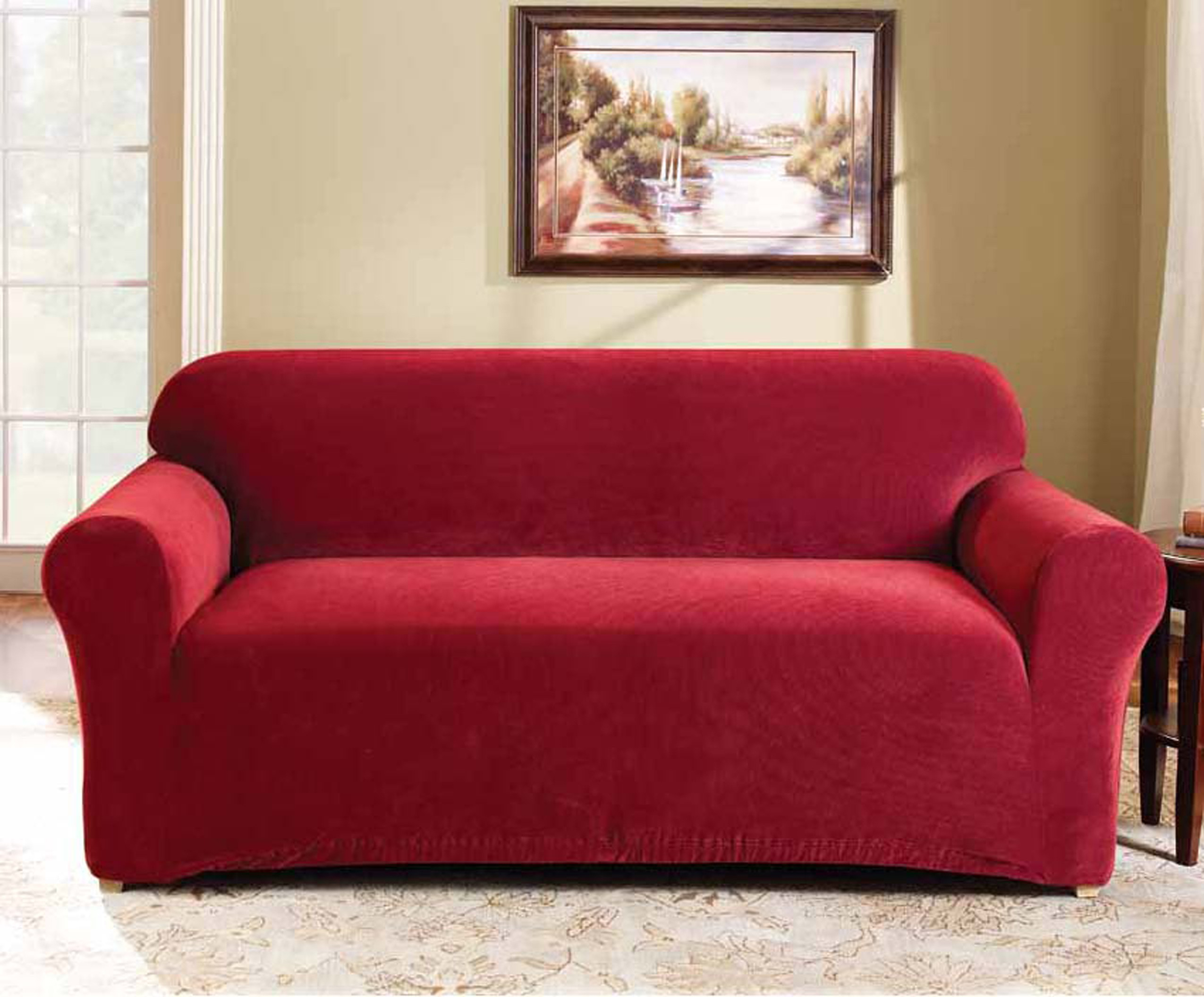 two seater sofa bed cover spray paint leather red 2 couch by surefit covers best
