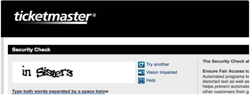 Captchas discerns for Ticketmaster