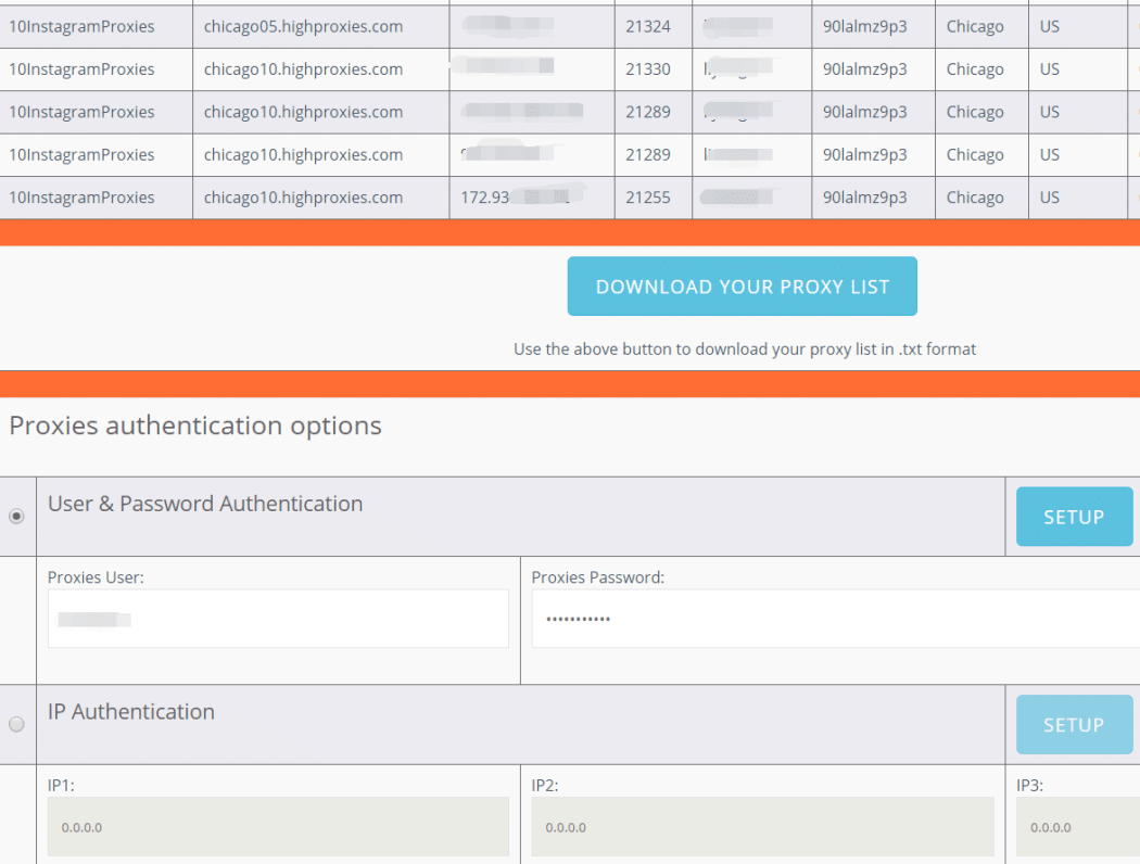 Proxies authentication options
