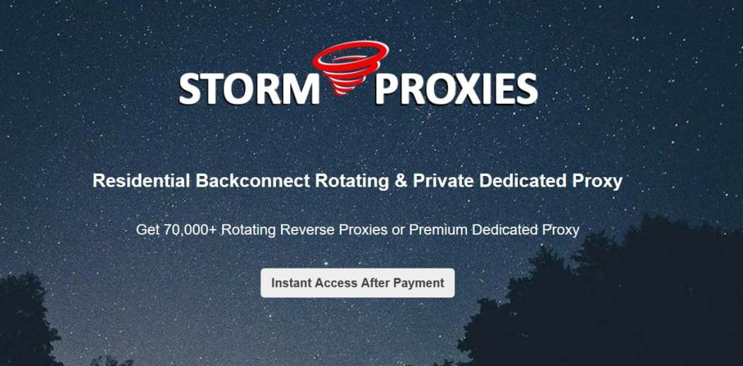 Storm Proxies Overview homepage