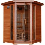 Radiant Saunas BSA1312 3-Person Cedar Corner Carbon Infrared Sauna with 7 Heaters
