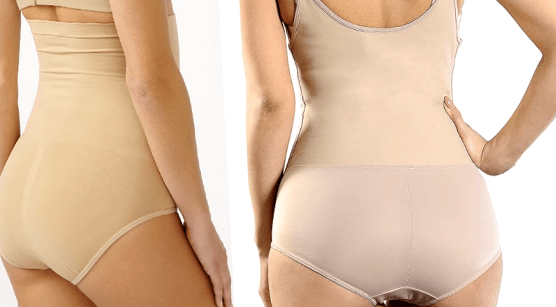 shapewear postpartum lateral and back view