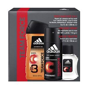 Adidas Fragrance Team Force 3-Piece Gift Set With 8.4-Ounce Body Wash, 1.7-Ounce Eau De Toilette, And 4-Ounce Deodorant Body Spray, 1.5068595600000001 Pounds