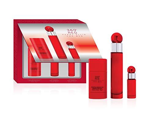 Perry Ellis Fragrances Perry Ellis 360 Red for Men – 3-piece Gift Set, 1.7 Fl Oz