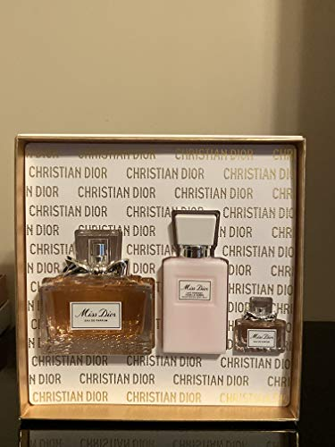 Dior Miss Dior For Women 3 Piece Set (3.4 Ounce Eau De Parfume Spray + 2.5 Ounce Moisturizing Body Milk + 0.17 Ounce Miniature), clean