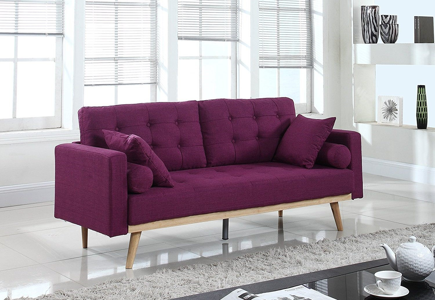 purple tufted sofa set best deep sectional sofas mid century linen fabric review
