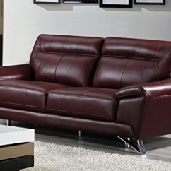 Genuine Leather Sofa And Loveseat Mart Charlotte Reviews Cortesi Home Phoenix Collection Merlot