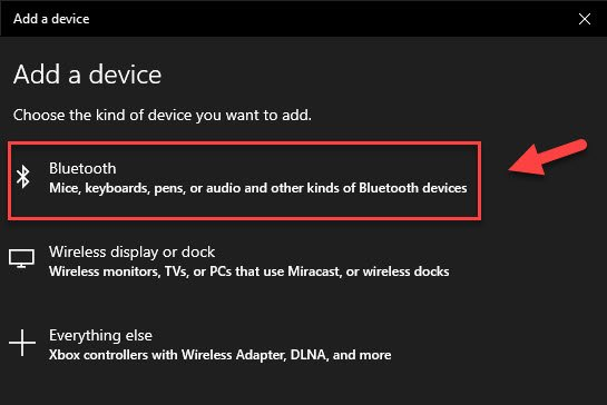 add bluetooth device to windows