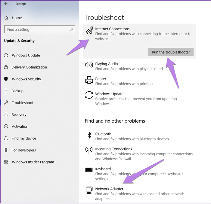 troubleshoot internet connection