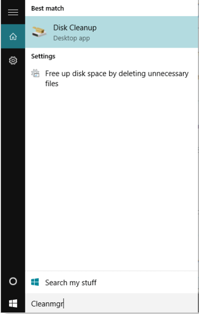 search for disk cleanup in windows 10 search