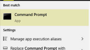 command prompt in windows search result