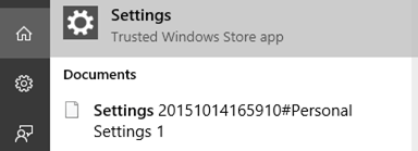 settings in windows search result