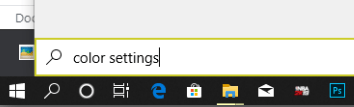 searching for night settings in windows