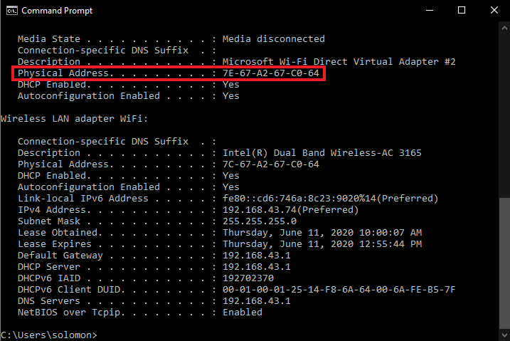 mac/physical address in command prompt