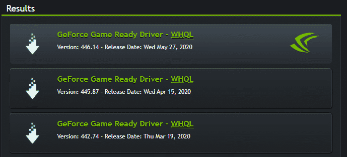 Nvidia drivers result
