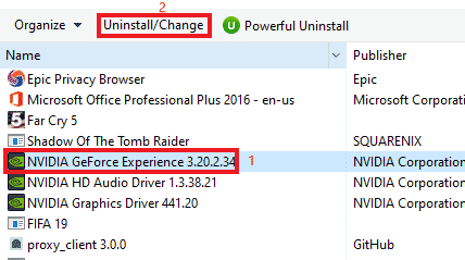 uninstall geforce experience