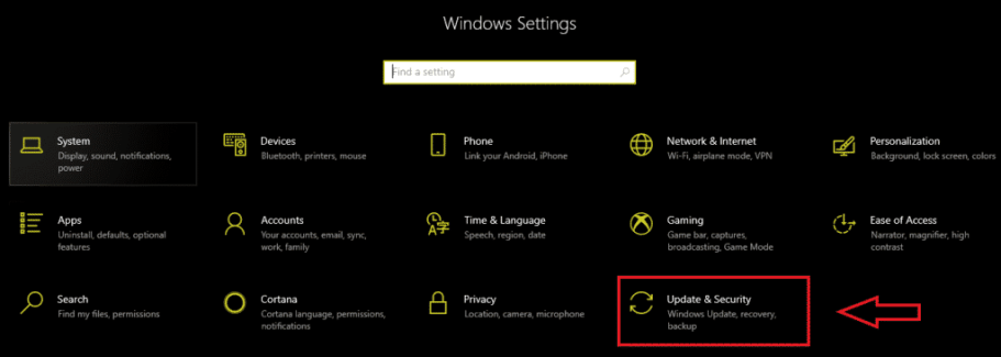 update and security in windows settings