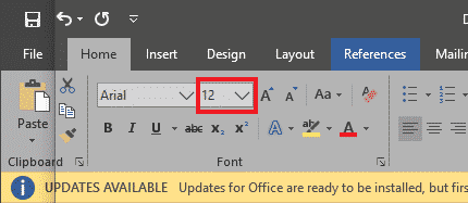 microsoft word home section
