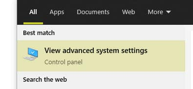 View advanced system settings in windows search results