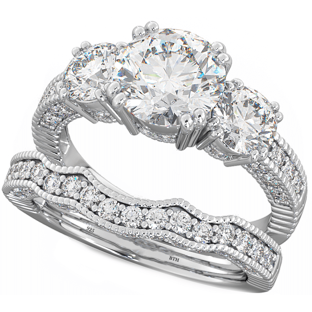 925 Sterling Silver Luxury Unique Affordable Wedding Engagement Bridal Ring Set