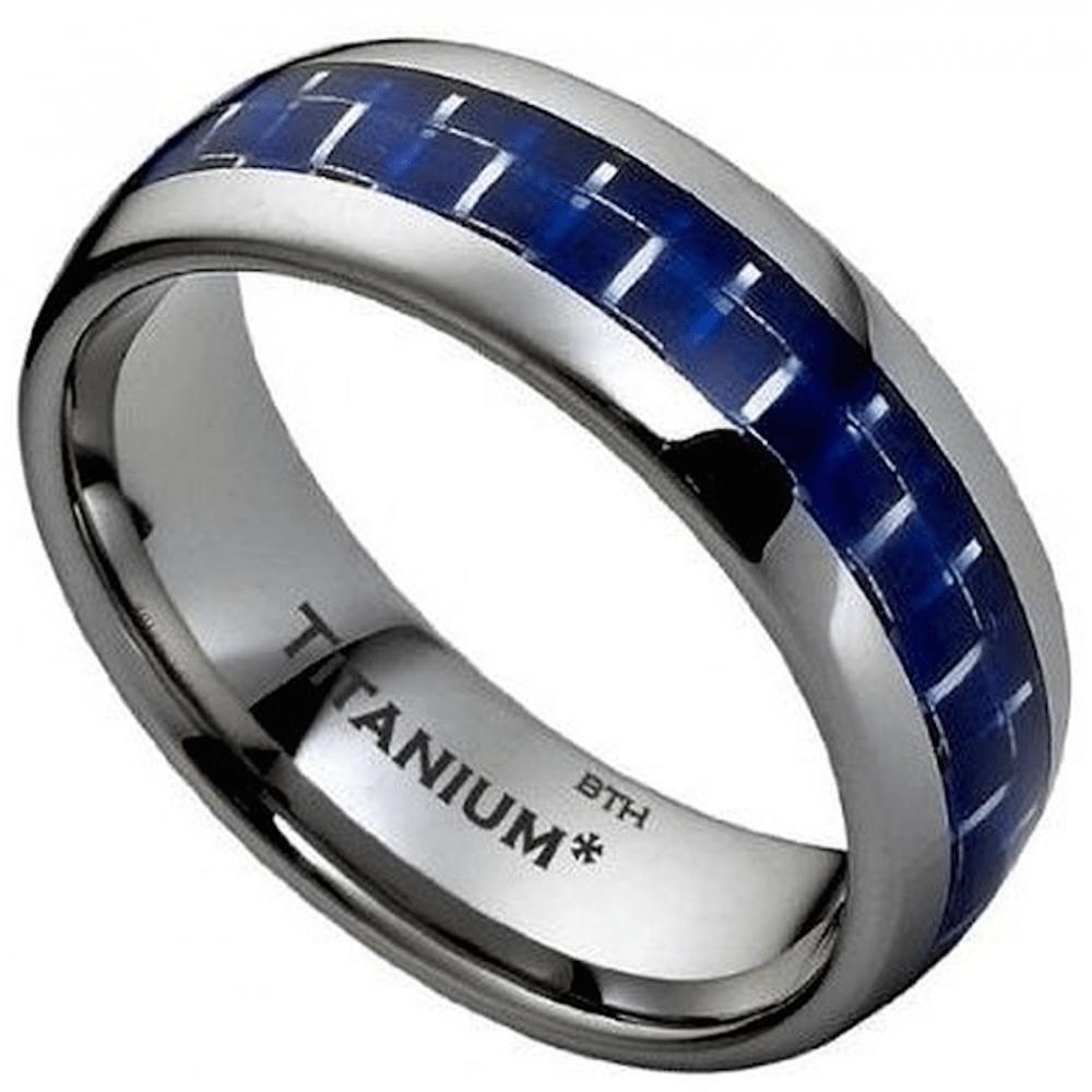 Blue Carbon Inlay Titanium Classic Mens Wedding Engagement
