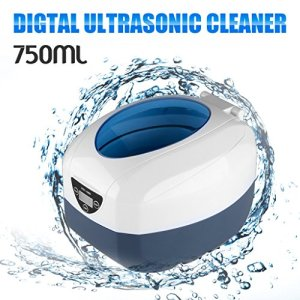 Floureon 750ml Ultrasonic Cleaner Professional Jewelry Cleaner with LCD Digital Timer for Jewelry Eyeglasses Watches Rings Necklaces Coins Razors Dentures Combs (40KHz, 35W)