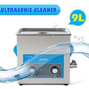 GT SONIC 9L Ultrasonic Cleaner Stainless Tank with 300W Heater Digital Timer Professional Cleaning Machine for Jewellery Household Commodities Glasses Coins Metal Parts (40KHz, 200W)