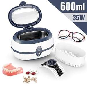 Uten Ultrasonic Cleaner Ultra Sonic Jewellery Cleaner with Cleaning Dentures Jewelry Glasses Watch Metal Coins (600 ml)