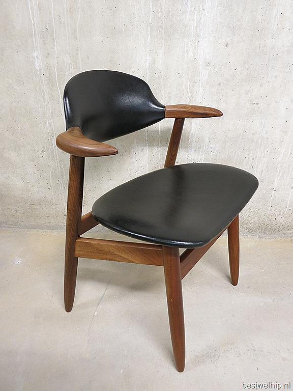 Vintage koehoorn stoelen Tijsseling Dutch design  Bestwelhip