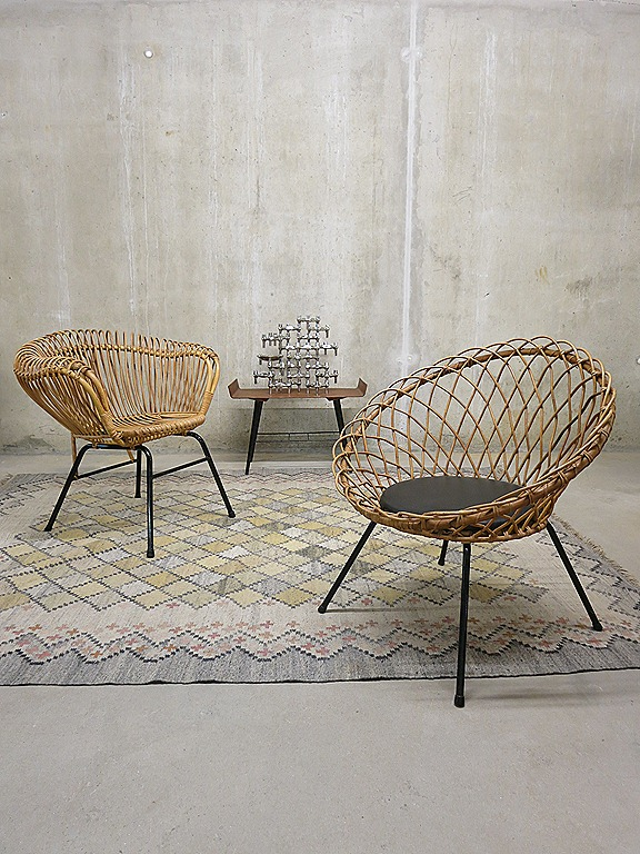 Mid century Dutch design rotan chairs Rohe Noordwolde