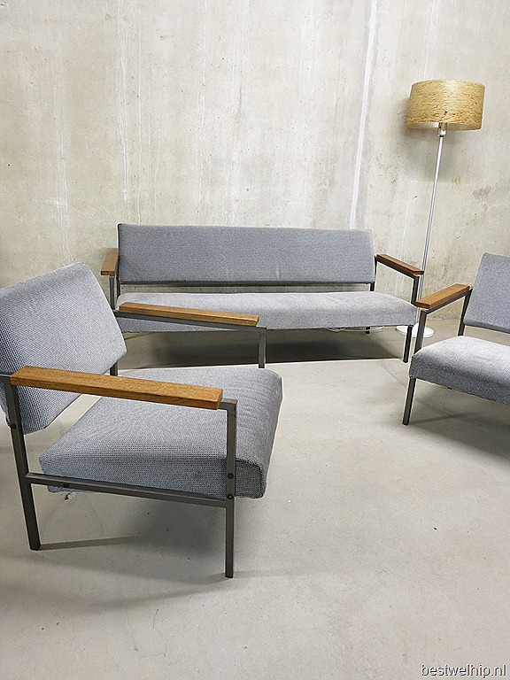 Mid century industrial seating group sofa  lounge