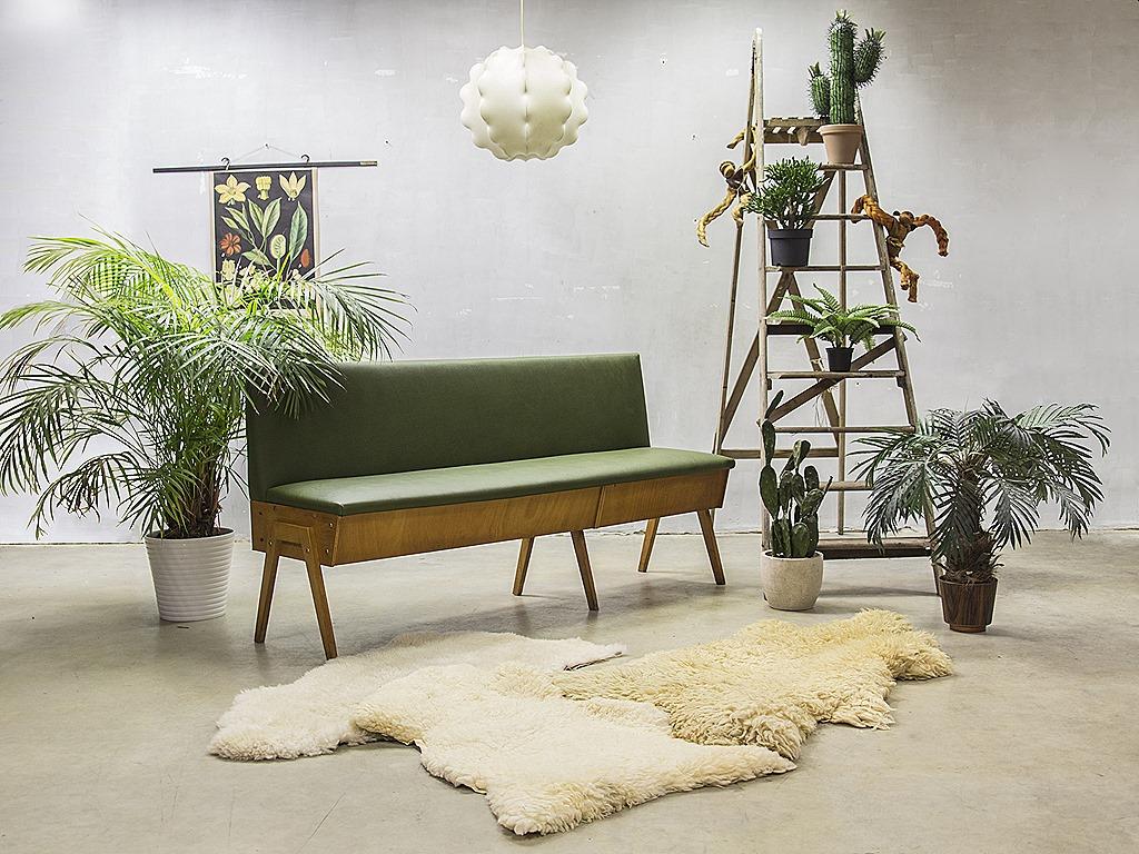 Vintage design eettafel bank industrieel vintage sofa mid