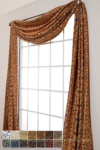 country style kitchen curtains doors delano flocked scroll scarf swag window topper
