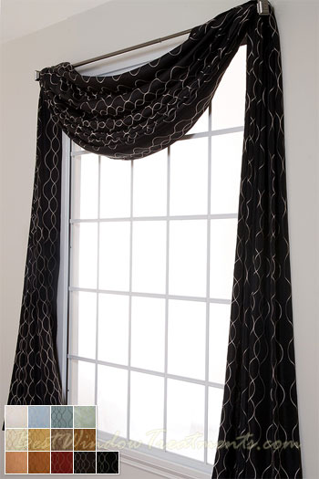 Pasha Scarf Swag Window Topper available in 13 colors