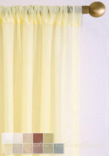 voile Plain Semi Sheer Curtain Drapery Panels