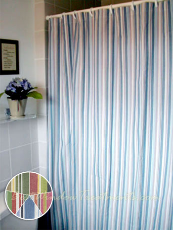 Cottage Stripe Shower Curtain available in 2 colors