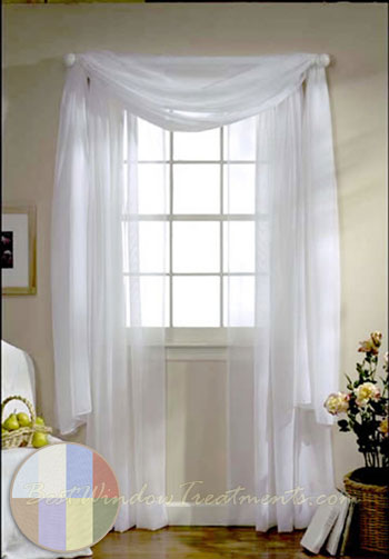 Turtle Bay Voile Curtain Panel available in White Ivory
