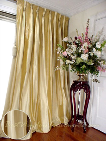 Thai Silk Pleated Draperies in Twotone Solid Gold and Ivory  BestWindowTreatmentscom