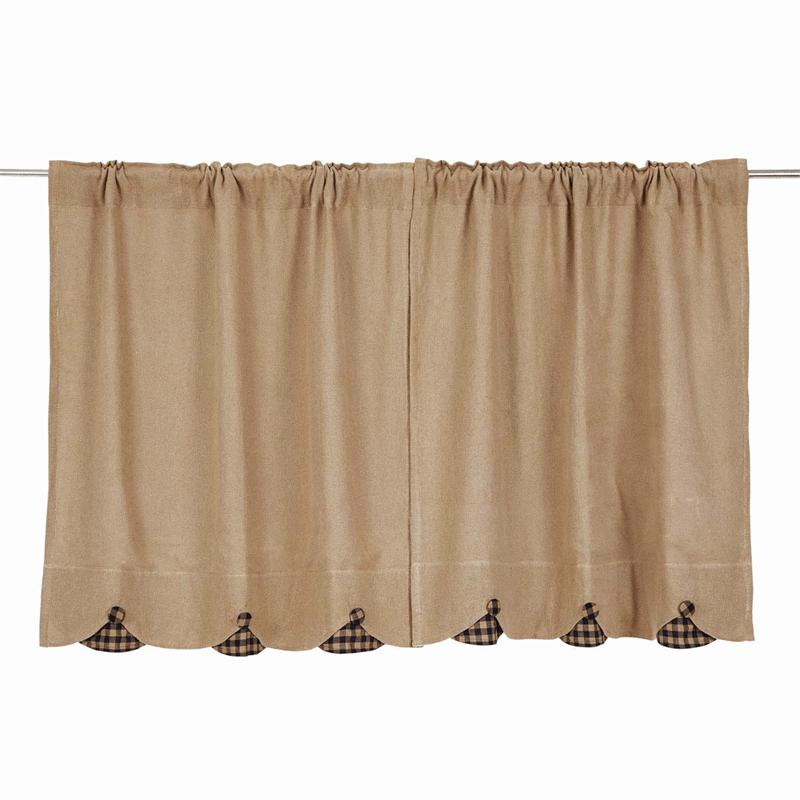 swag kitchen curtains sink grinder burlap w/ scallop check tier (pair) | www ...