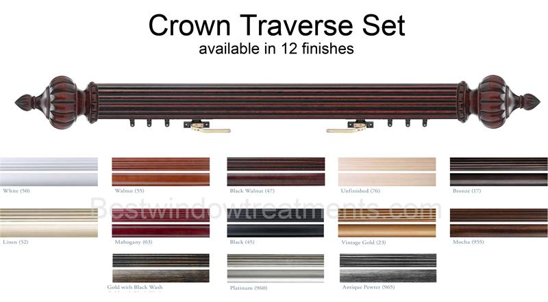 crown custom select decorative wood traverse rod set 1 3 8 diameter bestwindowtreatments com