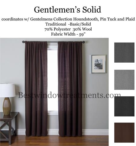 gentlemen solid wool blend curtain panel available in 4 colors bestwindowtreatments com