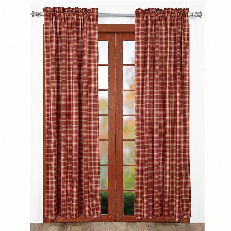 burgundy kitchen curtains beadboard cabinets kendrick plaid | www.bestwindowtreatments.com