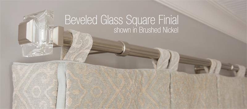 square beveled glass 1 1 8 dia custom metal curtain rod set bestwindowtreatments com
